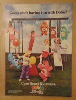 Rare Vintage 1980's CARE BEARS KIDS Clothing 1984 Print Ad PROMO Advertisement
