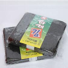 100 Sheet 1 Pack Korean Dry Laver Whole Uncut Green Laver Nori Sushi Roll Diet