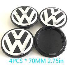 4pcs 70MM 2.75in Wheel Center Hub Rim Caps Chrome Black For VW Volkswagen