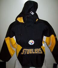 PITTSBURGH STEELERS Starter Hooded Half Zip Pullover Jacket S M L XL  BLACK