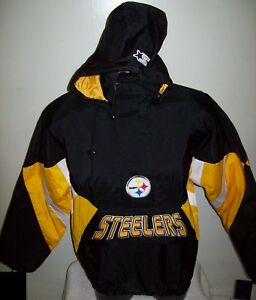 PITTSBURGH STEELERS Starter Hooded Half Zip Pullover Jacket S M L XL  BLACK