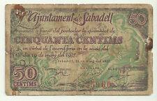 GUERRA CIVIL (NOTGELD) SABADELL. 50 CÉNTIMOS DE 1937 (RC)