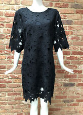 Next Black Lace Crochet Guipure Summer Party Short Sleeve Dress Size 20 BNWT