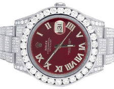 Mens Rolex Datejust II Full Iced Out 41MM 116300 Red Dial Diamond Watch 21.5 Ct