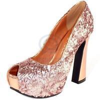 Sexy Womens High Heels Party Shoes Open Toe Rose Pink Sequin Pump Platform Sz AU