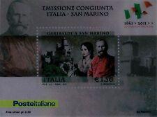 2011 Emissione congiunta con San Marino - foglietto su lamina d'argento