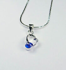 18k White Gold Plated Heart Pendant With Chain Blue 'Sapphire CZ'