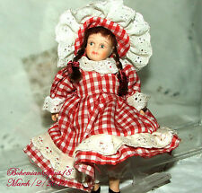Vintage Miniature Bisque Double Jointed Country Girl Red/White Dress/Hat Doll