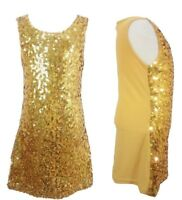 Girls Kids Sparkle Sequin Tunic Dress Gold Trend Prom 60's Dance Kids 4-14 Years