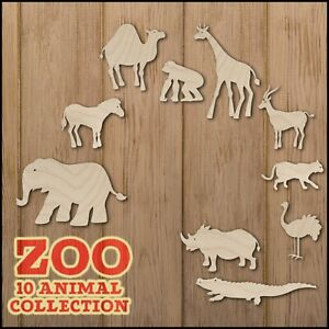 Zoo Set 10x Animals Blank wooden or MDF shapes, Cutouts, Funny DIY Crafts Cute