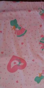 """1987 Vintage Easter Fabric GEESE & HEARTS 33"""" piece girl baskets goose"""