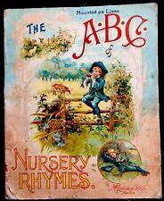 ABC NURSERY RHYMES ~ Antique Children's Linen Book W/ TEN LITTLE NIGGERS RARE