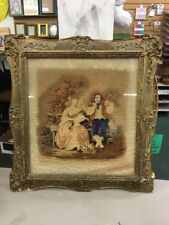 Large Antique Framed Needlepoint Portrait Picture Young Girl Woman & Man parrot