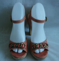 RIVER ISLAND WOMENS CORAL BUCKLE LEATHER SLINGBACK SANDALS SZ:5/38(WHS386)