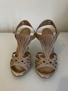 Art Deco Glitter Metallic Bronze Heels Sandals Shoes size AU 5.5 AU 5 EU 35