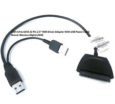 "USB 3.0 to SATA 22 Pin 2.5"" HDD Driver Adapter With Extra USB Power Cable"