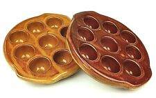 Escargot Quail Egg Dishes French Vintage 9 Wells Duo Cooking Serving Plates
