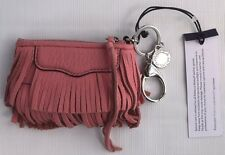 REBECCA MINKOFF Finn Fringed Pink Leather Charm Key Chain Coin Purse Womens NEW