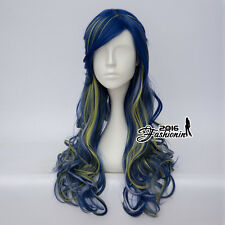 Au Long Curly Ombre 60CM Lolita Yellow & Blue Braids Cosplay Heat Resistant Wig