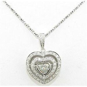 1.40 CT. Natural Heart Shape Diamond 18K White Gold Halo Diamond Pendant.