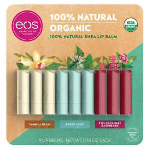 EOS Organic Smooth Lip Balm (9 Stick Pack) * FAST SHIPPING *