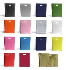 More details for plastic plain shopping carrier bags d cut handle retail boutique (s m l xl)