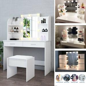 White Dressing Table Makeup Desk Vanity Set w/ LED Light Mirror Drawer Stool UK