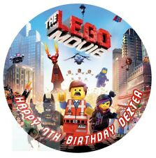 LEGO MOVIE ROUND CAKE TOPPER PERSONALISED EDIBLE ICING CAKE DECORATION