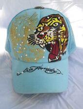 Ed Hardy Mesh Snap Back Light Blue Trucker Hat Tiger New York Snake Gems