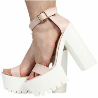 NEW WOMENS LADIES ANKLE STRAP PLATFORM HIGH HEEL CLEATED SANDALS SHOES SIZE 3-8