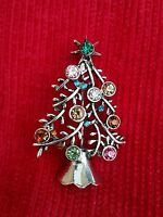 Vintage Look Stunning Diamonte Silver Plated Christmas Tree Brooch Cake Pin GIFT