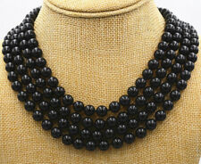 """onyx agate beads necklace 17-20"""" 1557 Stunning pretty 4 rows 8mm natural black"""