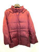 J Jill M Wine Red Down Coat Zip Snap Hood Metallic Shimmer Winter Parka Medium