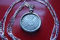 "1890-1916 COIN PENDANT POWERFUL GERMAN EMPIRE COIN ART on a 30"" Silver Chain"