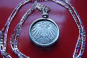"1890-1916 COIN PENDANT GERMAN EMPIRE COIN  on a 28"" ITALIAN MADE Silver Chain"