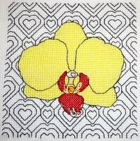 Blackwork Orchid modern counted cross stitch pdf pattern chart flower heart card