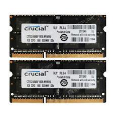 Crucial 16GB 2x8GB DDR3L-12800S 1600mhz 204P 1.35V NON ECC SODIMM Laptop Memory
