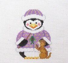Susan Roberts Penguin Girl with Kitten Handpainted Needlepoint Canvas