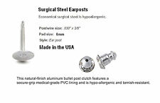 50 Earring Stud Posts 6mm Pad Hypo-allergenic Surgical Steel USA Bullet Clutch