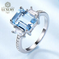 Blue Topaz Platinum Plated 925 Sterling Silver Romantic Engagement Women Rings