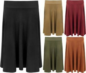Womens Plus Size Knee Length Skater Skirt Ladies Suede Look Flared Swing Skirt
