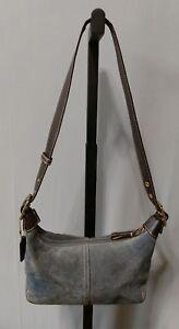 Coach B33-9574 authentic blue suede leather mini hobo shoulder bag purse