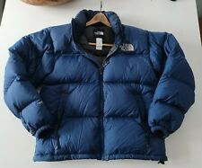 The North Face Men 700 Goose Down Filled Puffer Jacket M Coat Puffy Blue EUC