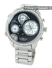 mens big 3 time zone steel sports dress watch ice out black dial link bracelet
