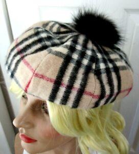 BURBERRY Authentic Nova Check Cashmere & Fox Fur Beret Hat NWOT!