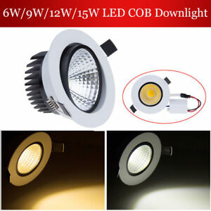 6W 9W 12W 15W Dimmable COB LED Downlight Recessed Ceiling Spot Light With Driver