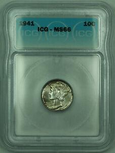 1941 Mercury Silver Dime 10c Coin ICG MS-66 Toned (A)