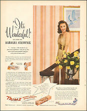 1946`Vintage ad Trimz Ready Pasted Wall paper`Barbara Stanwych Actress( 010116)