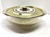 Vintage Mid Century Modern Georges Briard Pyrex Bowl w/gilding & metal Lid Gold