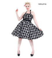 H&R Hearts & Roses London 50s Goth Punk Dress 'Kiara' White Tartan All Sizes